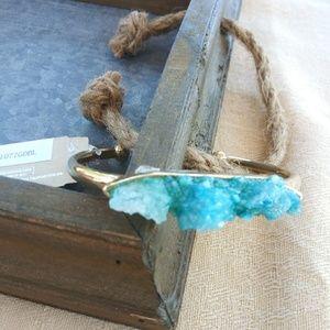 Turquoise color druzzy stone, cuff bracelet